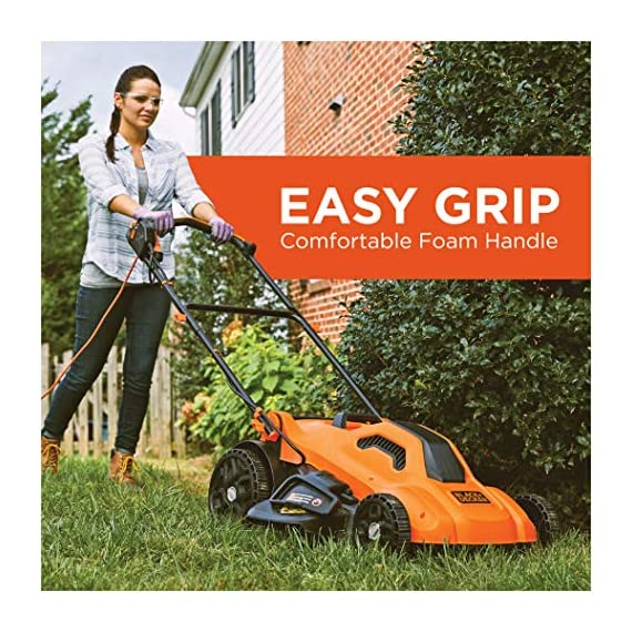 BLACK+DECKER Lawn Mower, Corded, 13 Amp, 20-Inch (BEMW213) 3 Push mower comes with 13 Amp motor to power through tall grass Electric mower can adjust height with 6 settings for precise cutting specifications Push lawn mower comes with easy Fold handle for convenient storage when not in use