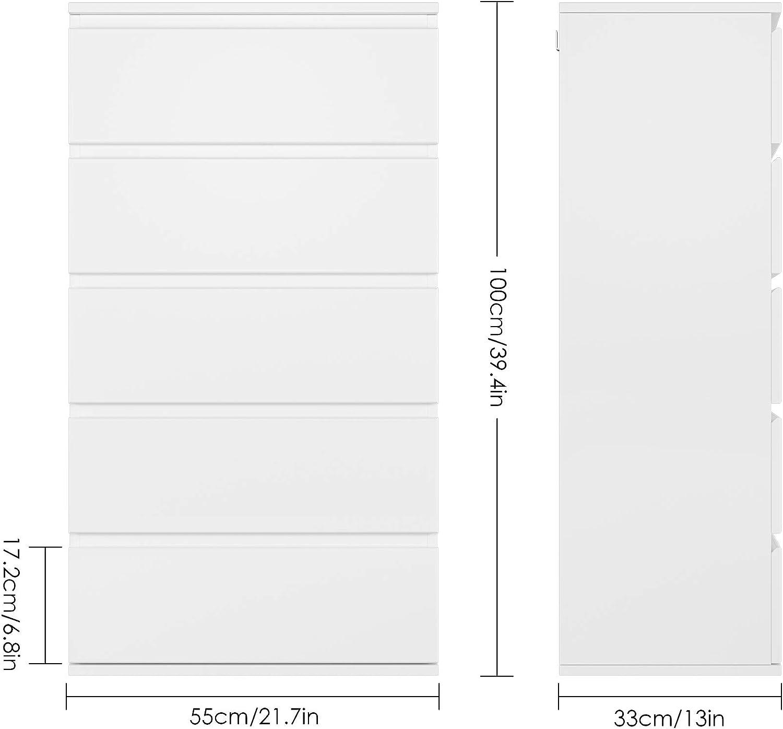 Homfa Meuble de Rangement Armoire de Rangement Commode avec 5 Tiroirs pour Chambre Salle de Bain Salon Cuisine en Bois 55/×33/×100cm Blanc