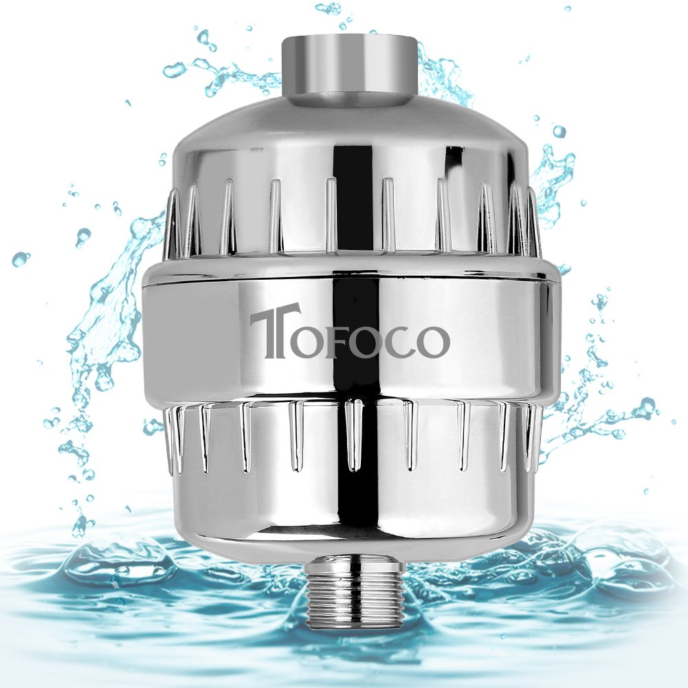 TOFOCO 10-Stage Universal Shower Water Filter, Removes Chlorine, Heavy Metal and Harmful Substances, Enhance PH, for Any Shower Head and Handheld Shower CLFB10