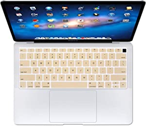 Se7enline 2018/2019 New MacBook Air Keyboard Cover 13 inch Soft Silicone Skin Protector for MacBook Air 13-Inch with Touch ID with Retina Display Newest Version Model A1932 US Layout, Gold