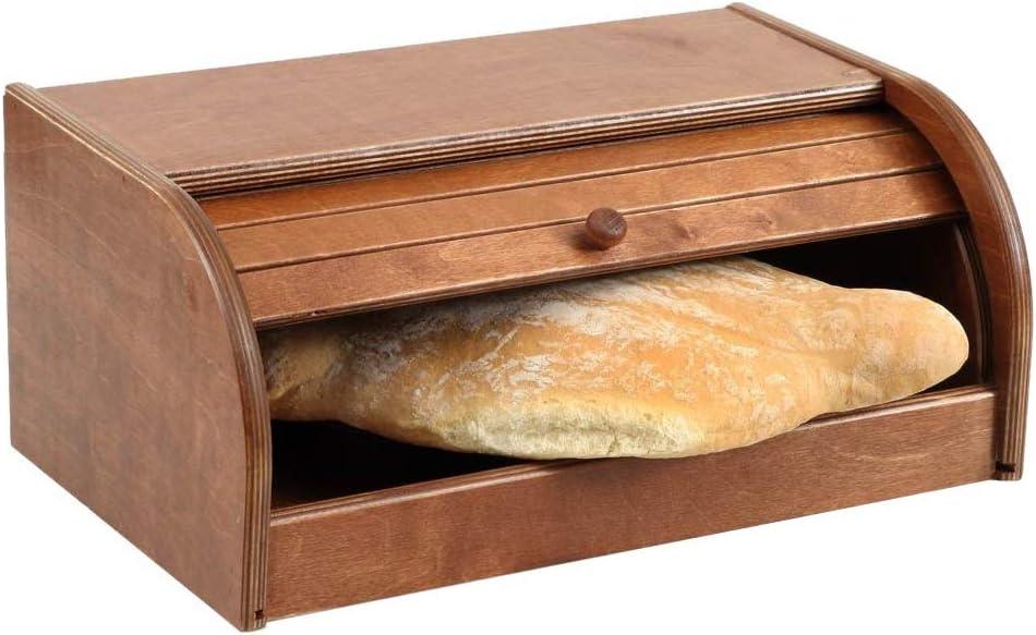 Boite /à pain fabriqu/é en ITALIE en bois de bouleau naturel de couleur noyer