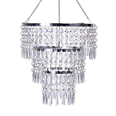 FlavorThings 3 Tiers Fuax Crystal Acrylic Beaded Chandelier,Diam10.5 Long 11 ,LampShade with Acrylic Jewel Droplets,Great idea for Wedding Centerpieces Decorations and Any Event Party Home Decor
