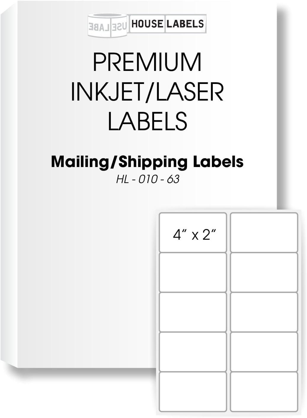 "400 Sheets; 4,000 Labels, 10-UP, Shipping Labels (4.0"" x 2.0"") - BPA Free!"