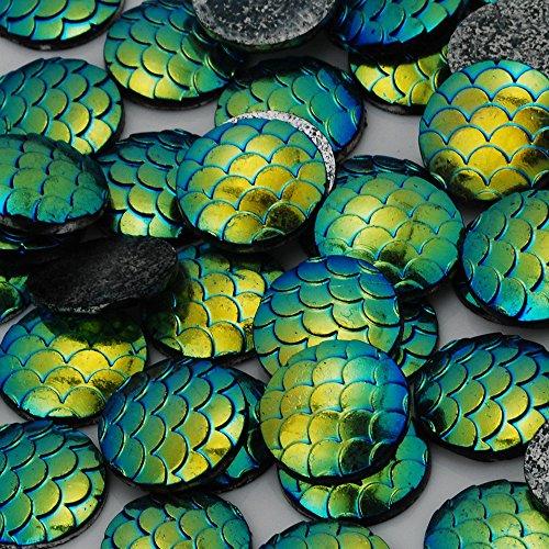 12mm Blue Ink - 50PCS 12mm Resin Mermaid Cabochons AB Iridescent Mermaids Cabochon, Blue ink