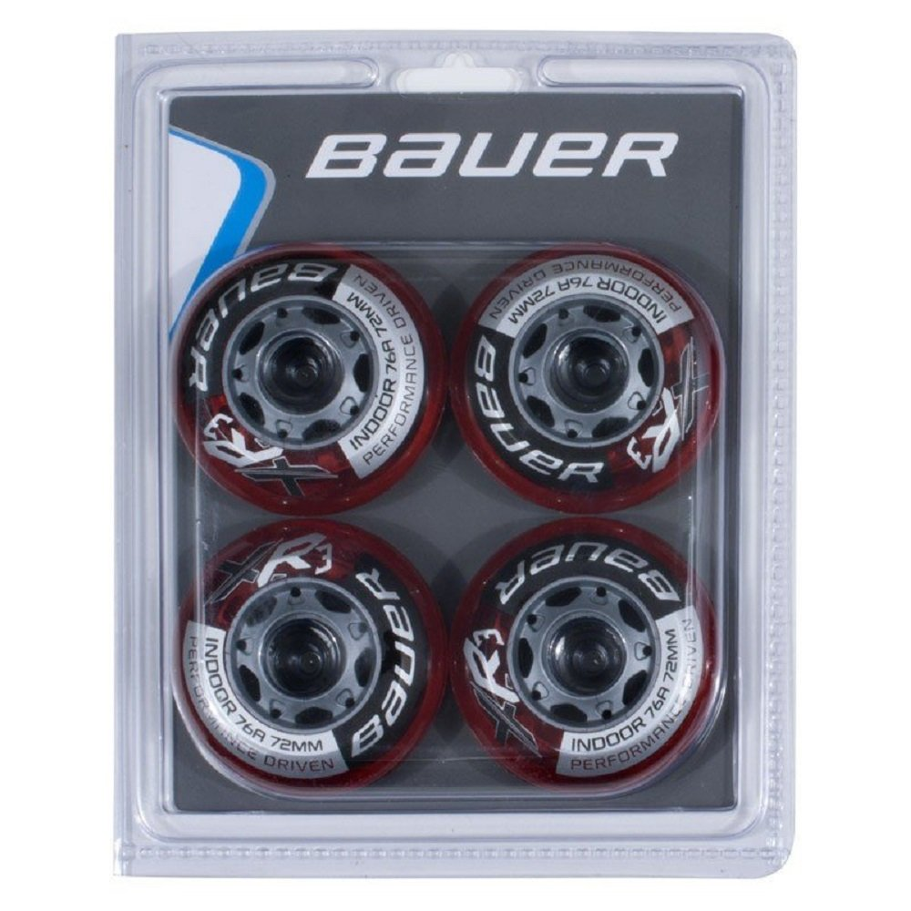 Bauer XR3 Indoor 76A (59mm) Roller Hockey Wheel - Red - 4 Pack