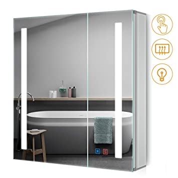 Quavikey LED Beleuchteter Badezimmer Spiegelschrank mit Dimmbarem ...