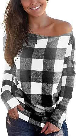 Cosonsen Women's Off Shoulder Top Long Sleeve Plaid Tee Shirt Blouse