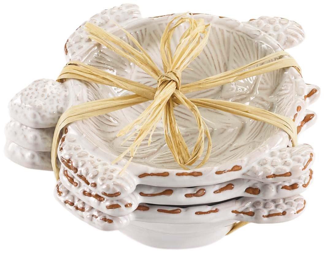 Mud Pie Ceramic Pineapple Shaped Dip Condiment Bowls (Set of 3) 4855041