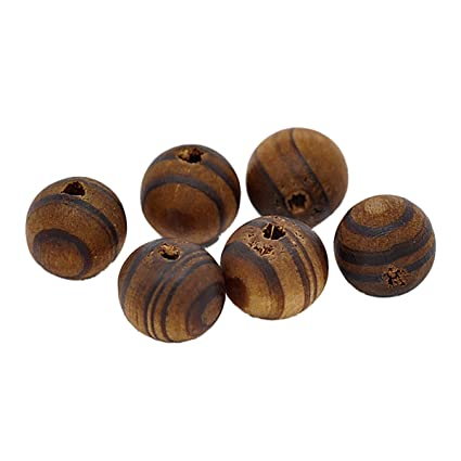 100Pcs Wooden Oval Striped Spacer Beads Jewelry Making DIY Necklace Charms