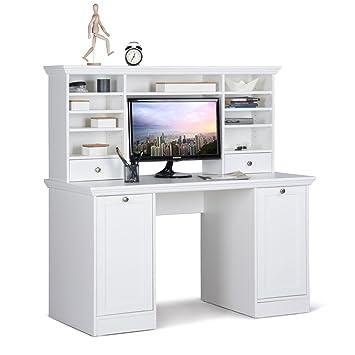 Schreibtisch Mit Aufsatz Landström 33 Weiß 136x138x63 Cm