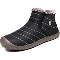 SITAILE Snow Boots, Women Men Fur Lined Waterproof Winter Outdoor Slippers Slip On Ankle Snow