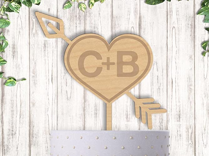 Amazon.com: Rustic Heart with Arrow and Initials Engraved Wedding ...