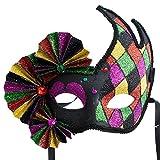 Glitter Venetian Fan Mask
