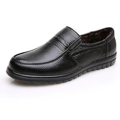LEDLFIE Chaussures Pour Hommes en Cuir Véritable D'Âge Moyen Chaussures Décontractées Hommes Chaussures Antidérapantes en Coton Chaud