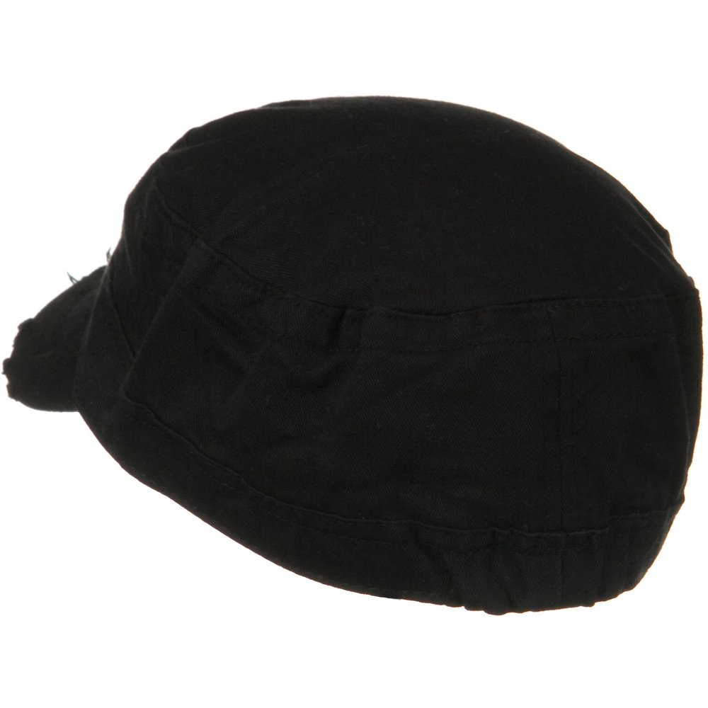 Hatiya Cotton Herringbone Army Cap-Black