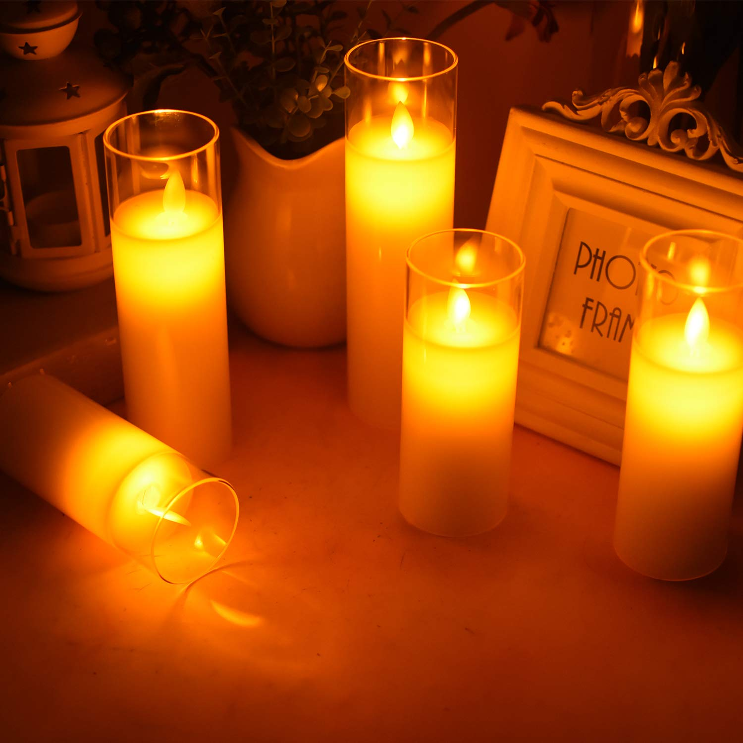 ACROSS Flickering Flameless Candles Battery Operated Pillar Real Wax Moving Wick LED Glass Candle Sets with Remote Control Timer for Halloween Holiday Christmas Wedding Party, 5\