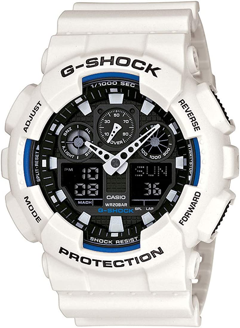 Casio Men's G-Shock GA100B-7A White Resin Quartz Watch