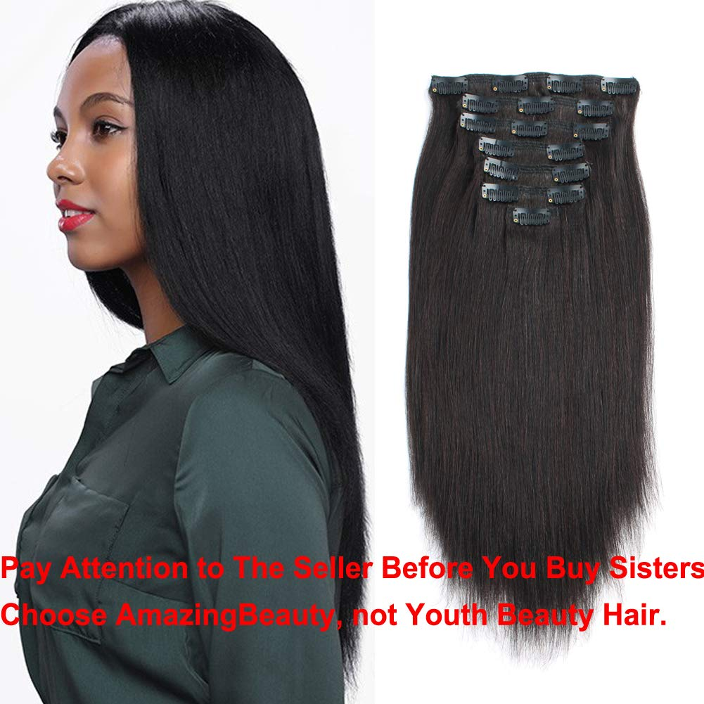 Amazon Amazingbeauty 8a Real Remy Thick Yaki Straight Clip Ins