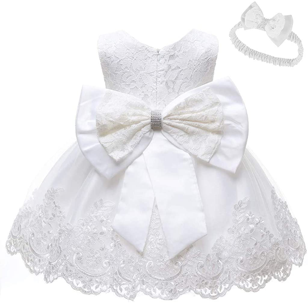 Headband Lonshell Flower Tulle Wedding Dress Bridesmaid Princess Party Dress 0-24 Months Newborn Girls Sleeveless Christening Baptism Gowns Infant Baby Girls Lace Tutu Dresses