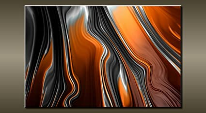 Large Abstract Black Orange Grey Canvas Wall Picture Flash Art 30 20 0313
