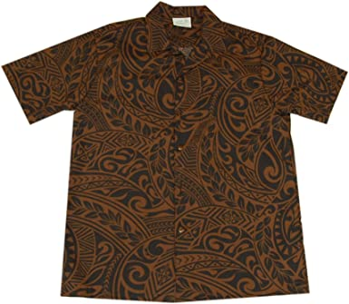 Mens Hawaiian Brown Black Tattoo Aloha Shirt Jade Fashions Inc