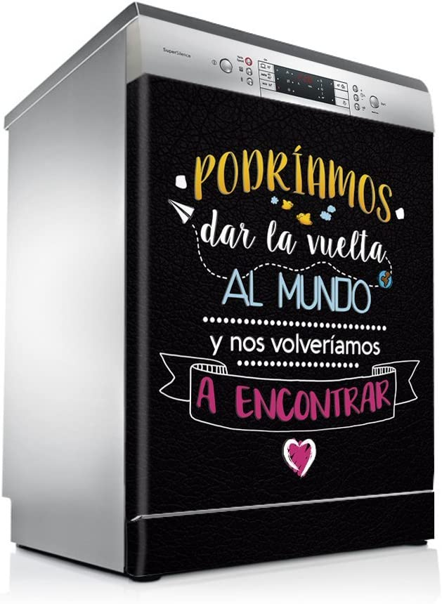 setecientosgramos Vinilo Lavavajillas   Stickers Dishwasher   Pegatina Lavavajillas   Mundo (Black)