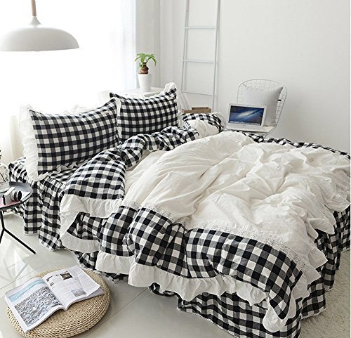 Levinis Black and White Buffalo Check Retro Plaid Bedding Set Grid Ruffle Duvet Cover Sets Modern Comfy Soft Cotton Bed Skirt Set Full Size 4 Pcs