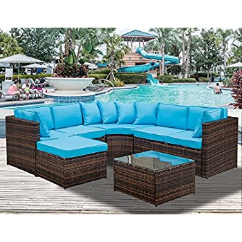 Beau Leisure Zone 5 Piece Patio Furniture Set Outdoor Sectional Conversation Set  With Soft Cushions (