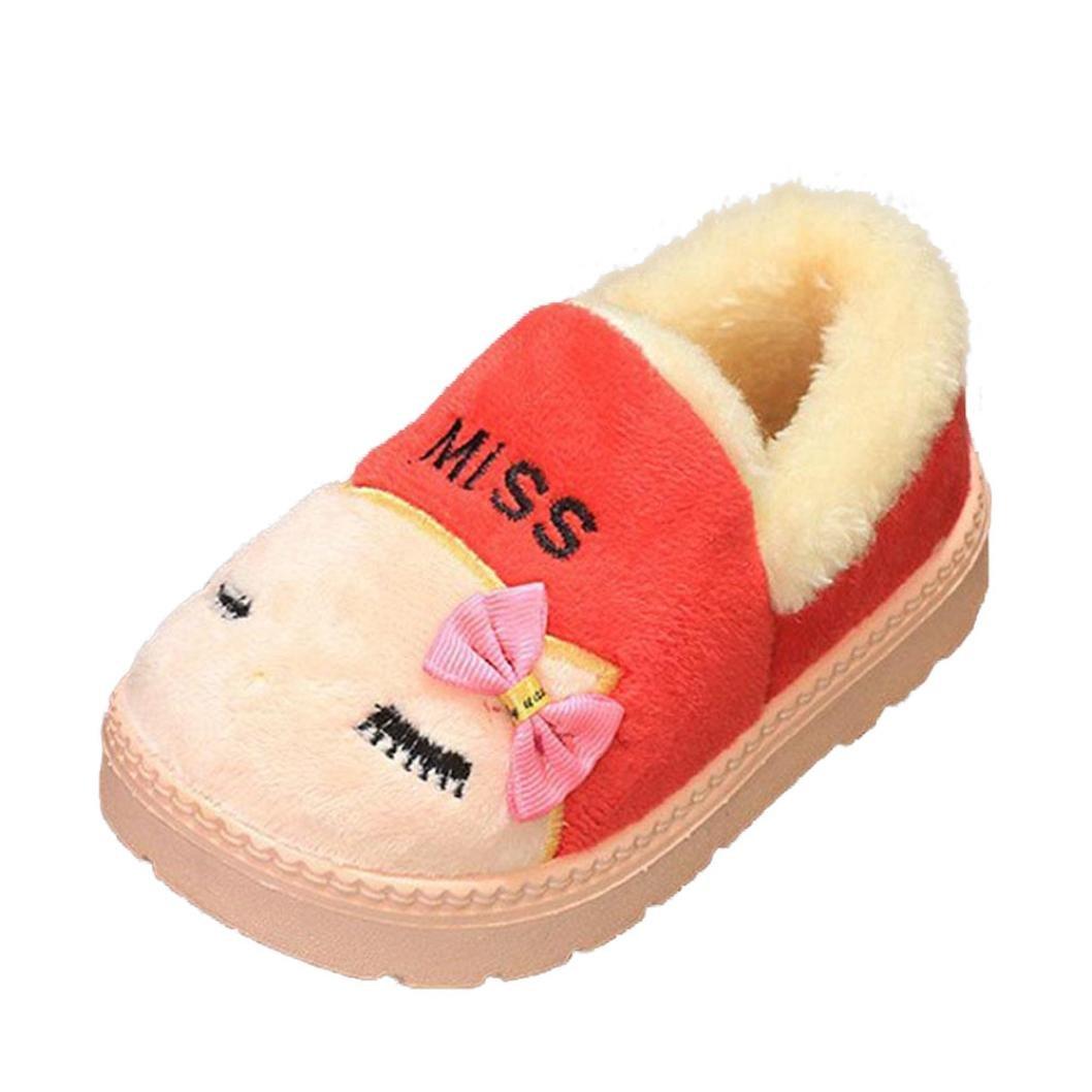 Pantoufles Mignon Douce Chaud Enfant Bowknot BéBé, QinMM Filles Peluche Semelle Non-Dérapant Velours Chaussures De Neige