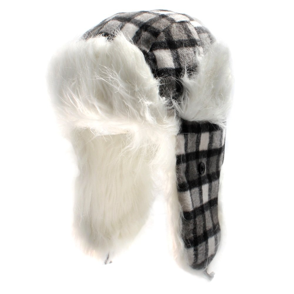 Black and White Checked Square Trapper Hat with Faux Fur Lining available in sizes 58cm or 59cm
