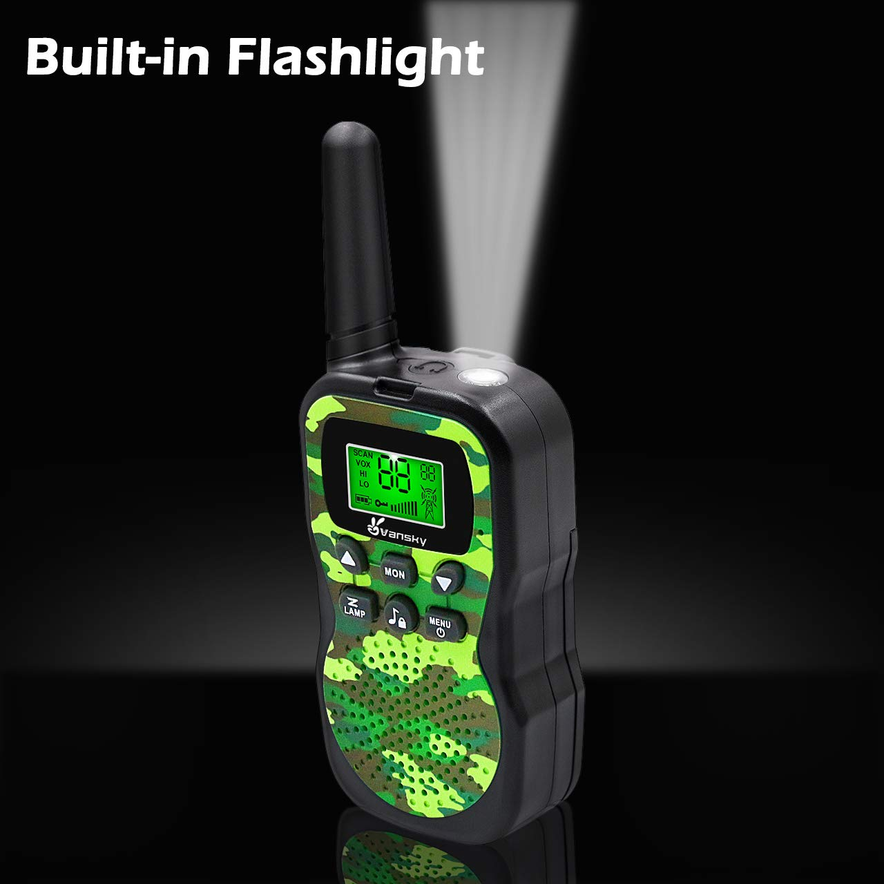 Vansky Walkie Talkies for Kids, Kids Toys 4 5 6 7 8 Age Boy Girl Long Range 22 Channel Built-in Flashlight 2 Way Radio Best Gifts Games, Outdoor Adventure, Camping, Hiking (Camo Green) by Vansky (Image #6)