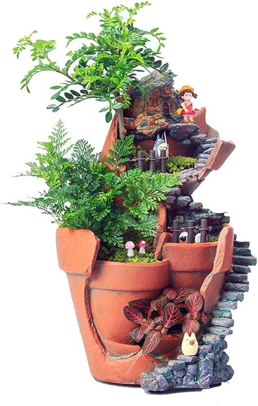 QJXSAN Macetas Jardín de Resina de simulación macetas de Flores suculentas Micropaisajes de siembra de Interior: Amazon.es: Jardín