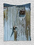 Supersoft Fleece Throw Blanket Industrial Collection Grungy Old Rotting Garage Door with No Parking Sign Rusty Locked Aged Wood Image Blue Khaki offers