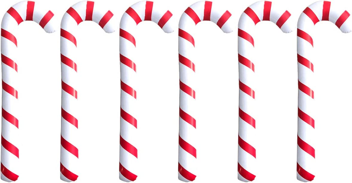 XIANMU Inflatable Candy Canes Christmas Decorations Holiday Party Decor Candy Canes Balloons for Christmas Indoor/Outdoor Decoration Set of 6