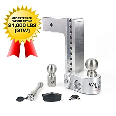 """Weigh Safe WS10-3-KA 10"""" Drop Hitch, 3"""" Receiver 21,000 LBS GTW - Adjustable Aluminum Trailer Hitch Ball Mount w/Built-in Scale, 2 Stainless Steel Balls, Keyed Alike Key Lock and Receiver Pin: Automotive"""