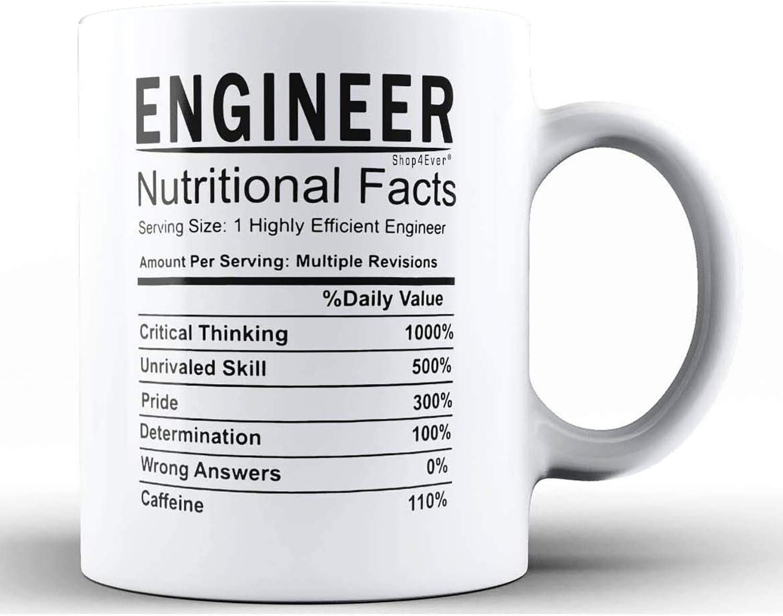 Shop4Ever Engineer Nutritional Facts Ceramic Coffee Mug