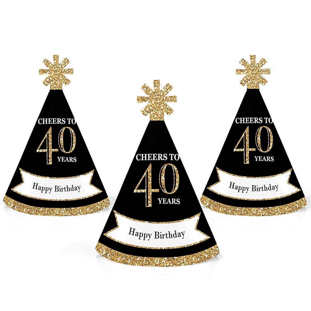 Adult 40th Birthday - Gold - Mini Cone Birthday Party Hats - Small Little Party Hats - Set of 10 by Big Dot of Happiness