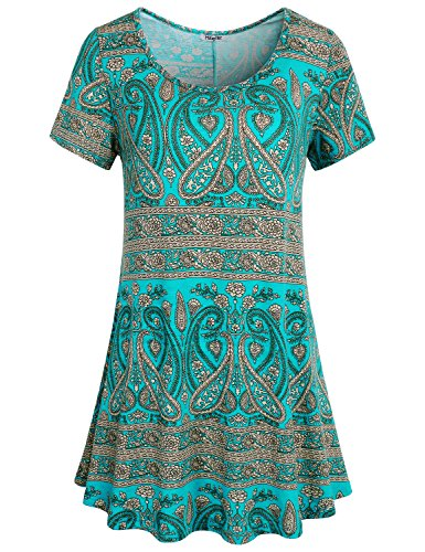 Hibelle Trapeze Tops, Womens Short Sleeve Crew Neck Tunic Shirt Cool Summer Casual Wear Flared A Line Swing Knitted Tee Boho Printed Blouse Dress Green XL Easter - Knitted Tunic Dress