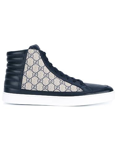 Gucci Homme 433717A9LN04069 Beige Bleu PVC Baskets Montantes  Amazon ... b8900a2c439