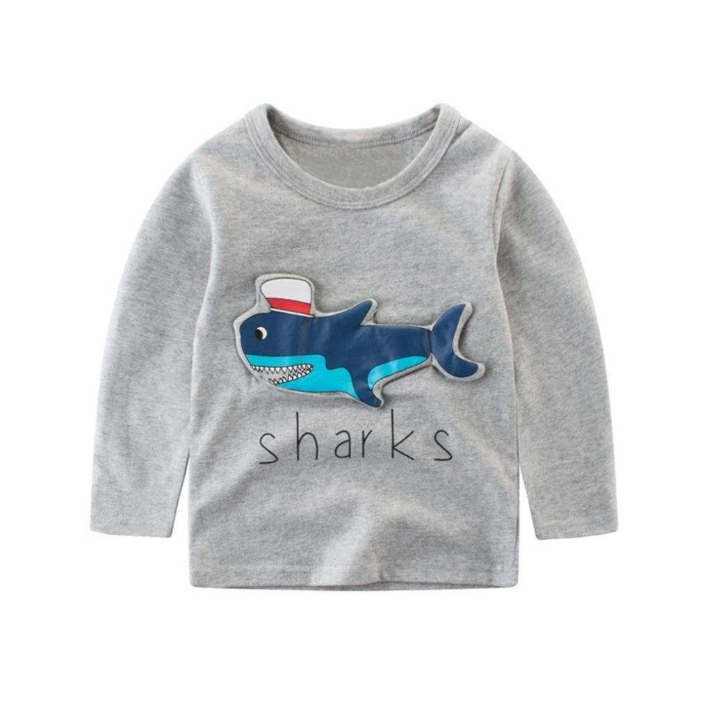 Fineser Toddler Little Boys Stereoscopic Shark Cartoon Letter Print Shirt Tops Outfits Clothes