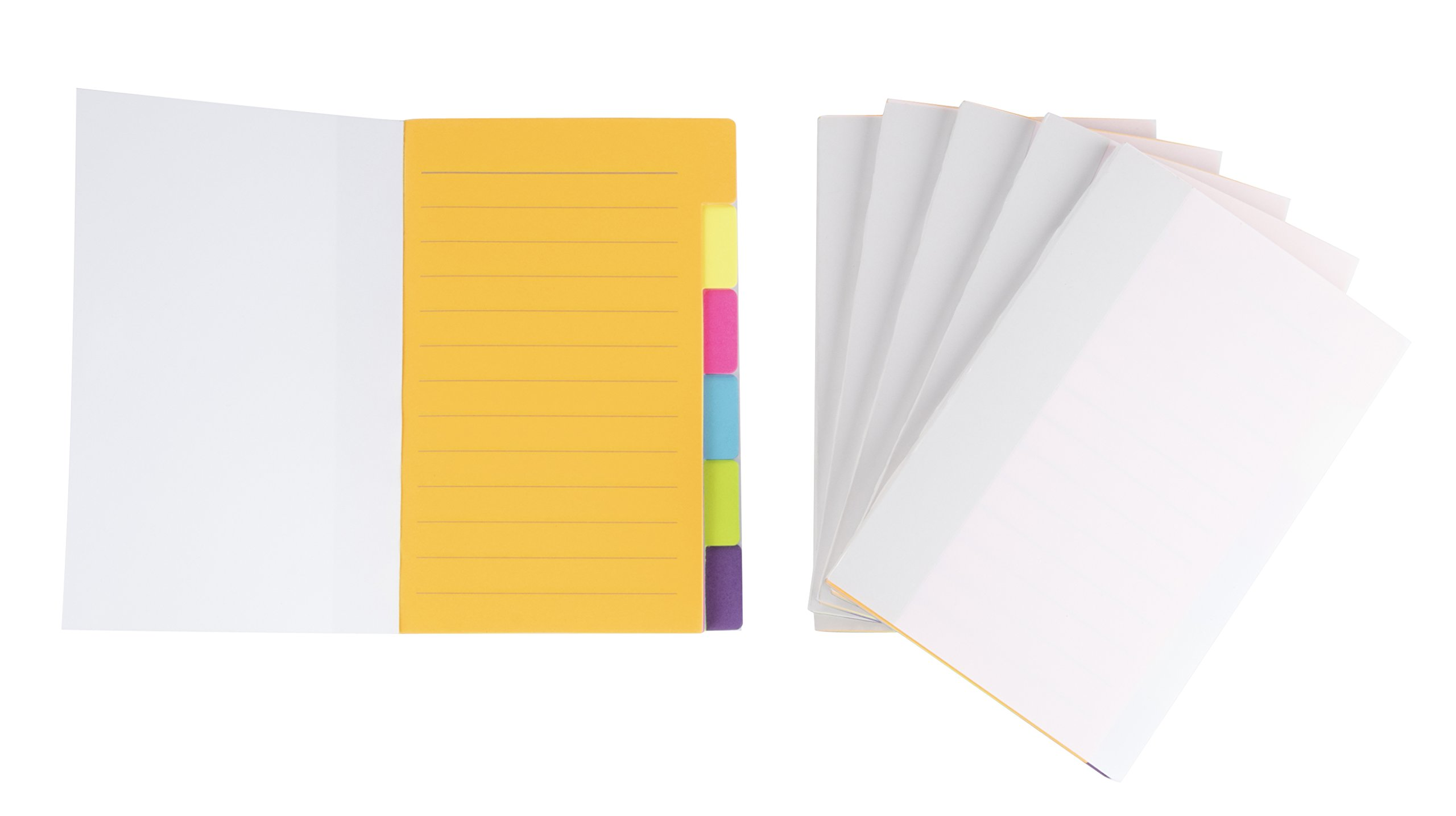 Pack of 6 Index Tabs - Divider Sticker Notes, 360 Ruled Notes, Bookmark Stickers- Color Coded for Students, Office Use, Home Use, 4 x 6 inches