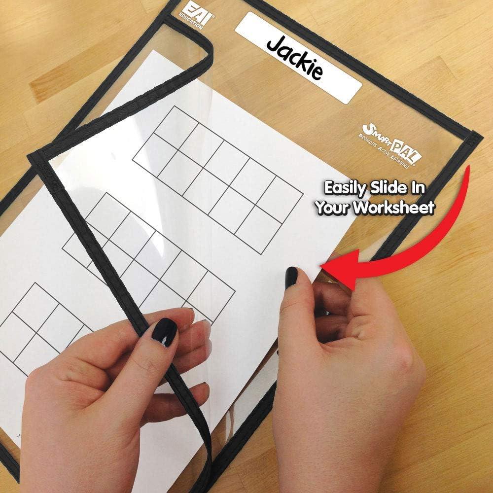 Set of 10 Renewed EAI Education SmartPAL Dry-Erase Sleeves: Black 10 x 14 in
