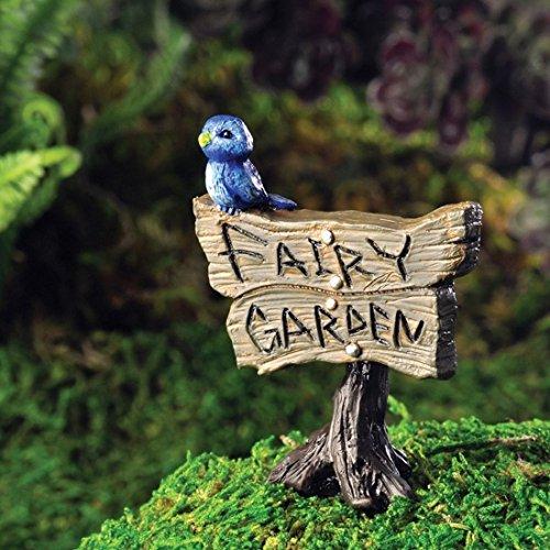 Fiddlehead Fairy Village Bird on Fairy Garden Sign with Bonus Novelty Fairies Bill and 3
