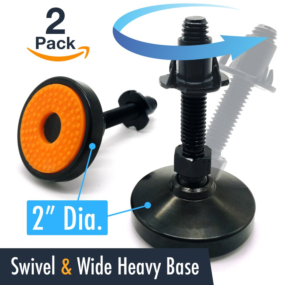 Swivel & Adjustable Leg Leveler Feet - UNWIREDD 2-Pack Carbon Steel Self Leveling Feet with T-nut - 2 inch Dia. Base, 1000 LB Capacity - Best for Workbench, Machine, Cabinet & Heavy Duty Applications