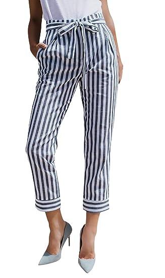 Pantalon De Loisirs Femme Mode Automne Trousers Rayures Verticales avec  Ceinture Poches Latérales Taille Haute Pantalons f73edc202897