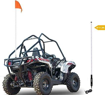 OLS 4ft Lighted Antenna LED Whip Light w//Flag for ATV Polaris RZR 4 Wheeler