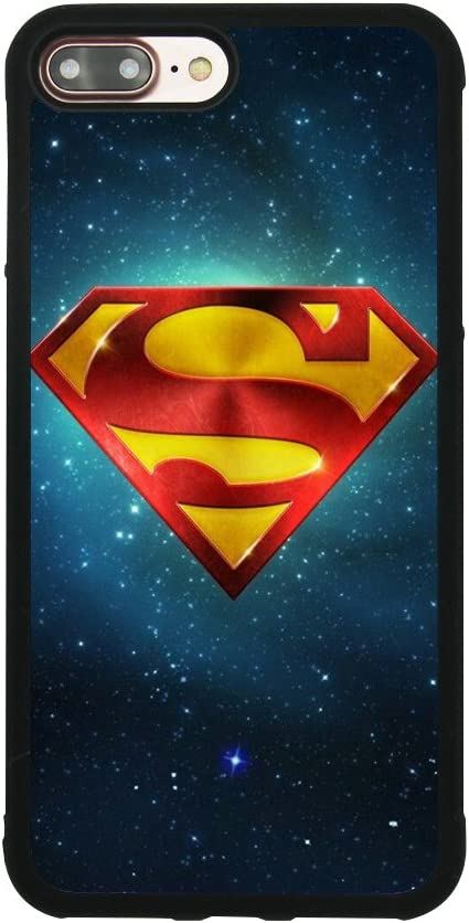 Superman Logo Case for iPhone 7 Plus/8 Plus (5.5 Inch) Comic TPU Silicone Gel Edge + PC Bumper Case Skin Protective Printed Phone Full Protection Cover