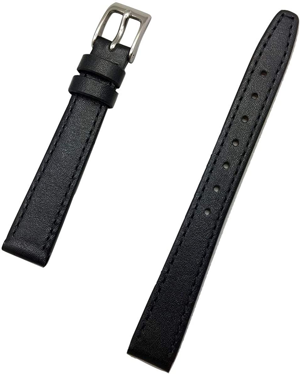 12mm Black Genuine Calf Leather Watch Band | Elegant Stitched, Flat Replacement Wrist Strap that brings New Life to Any Watch (Womens Standard Length)