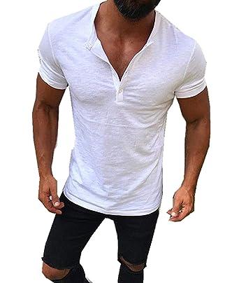 Cyiozlir Homme T-Shirt Manches Courtes Col