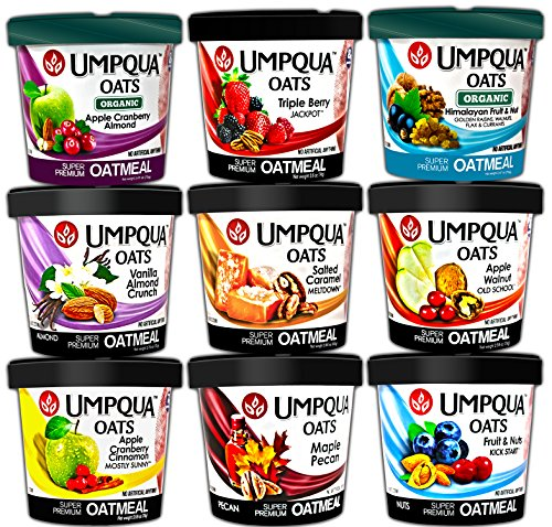 Umpqua Oats Oatmeals, Super Premium Sampler Variety Pack, Gluten Free, 2.57 Ounce Meals, 9 Count (Variety Pack, 9 Flavors)